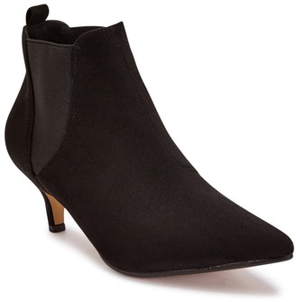 Truffle Collection Black Suede Kitten Heel Pointed Ankle Booties