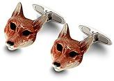 Aspinal of London Sterling Silver & Enamel Fox Head Cufflinks