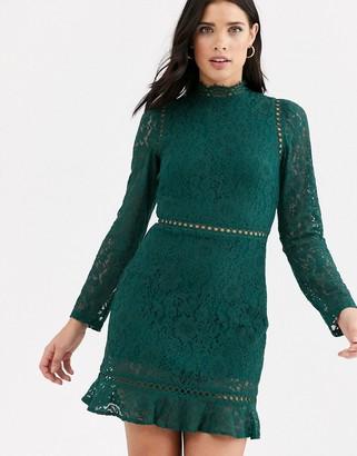 Fashion Union high neck lace dress with flippy hem-Green