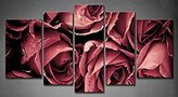 Tanda Canvas 5 Panels Pink Romantic Red Rose Background Picture Print On Canvas Flower Pictures