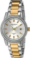 Akribos XXIV AK928TTG Women's Quartz Stainless Steel Automatic Watch, Two Tone