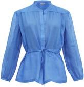 Three Graces London Rosaline Ramie Tunic Top - Womens - Blue