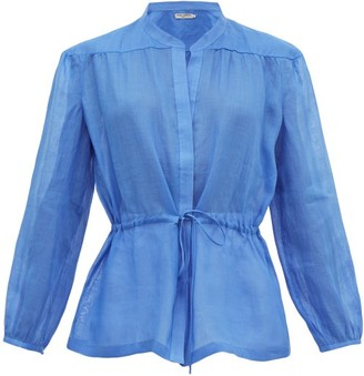 Three Graces London Rosaline Ramie Tunic Top - Blue