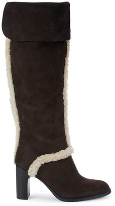 See by Chloe Annia Over-The-Knee Shearling-Trimmed Suede Boots
