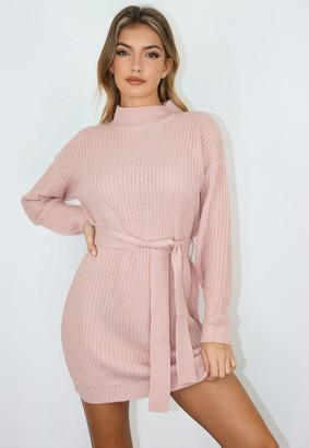 Missguided Pink Roll Neck Belted Basic Knit Dress