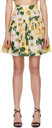 Dolce & Gabbana Yellow Camellia Print Circle Skirt