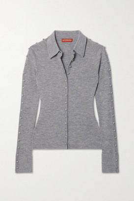 Altuzarra Hill Button-embellished Ribbed Wool-blend Cardigan - Gray
