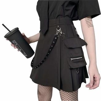 FREEPPCC Women's Black Gothic Skirt Punk Irregular High Waist A-line Pleated Skirt for Teen Girl with Detachable Waist Chain & Zipper Pocket