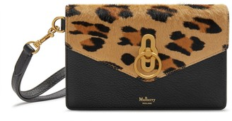 Mulberry Amberley Phone Clutch Camel and Black Leopard Haircalf and Silky Calf
