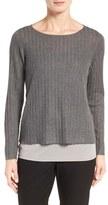 Eileen Fisher Petite Women's Rib Knit Bateau Neck Pullover
