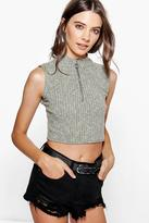 Boohoo Maya Rib Pull Ring Zip Crop Turtle Neck Jumper