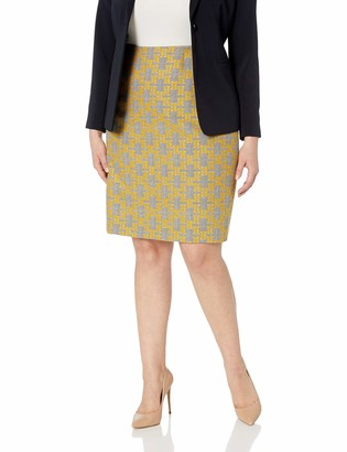 Kasper Women's Size Plus Jacquard Plaid Slim Skirt Dandelion Multi 18W