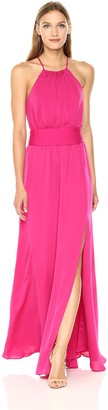 Halston Women's Sleeveless Round Neck Flowy Gown with Sash