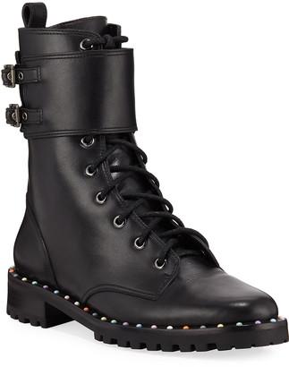 Sophia Webster Bessie Stud-Trim Leather Combat Boots
