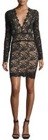 Nightcap Clothing Debut Lace Long-Sleeve Mini Dress, Black