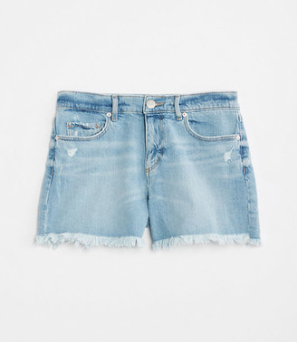 LOFT Plus Destructed Denim Cut Off Shorts in Light Indigo Wash
