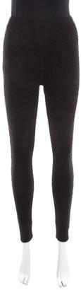 Fendi Black Floral Jacquard Lurex Knit Elasticized Waist Jogger Pants M