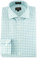 Neiman Marcus Classic-Fit Non-Iron Check Dress Shirt, Green/Blue
