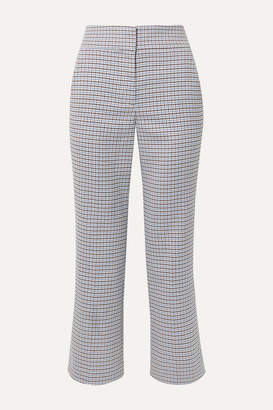 Veronica Beard Cormac Cropped Houndstooth Woven Flared Pants - Blue