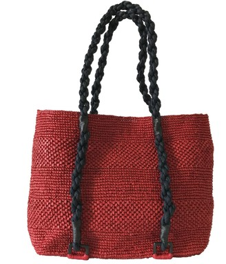 Maraina London Mimosa Red Beach Raffia Tote Bag