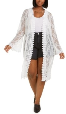 Full Circle Trends Trendy Plus Size Lace Duster Cardigan