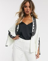 Paper Dolls blazer with lace and split detail co-ord in ivory