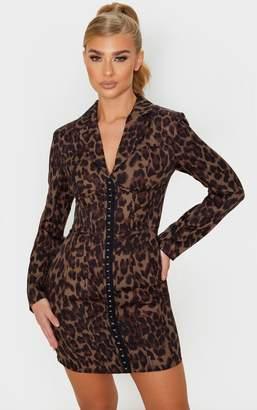 PrettyLittleThing Black Long Sleeve Corset Style Blazer Dress