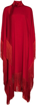 Taller Marmo Fringe-Edge Cape Gown