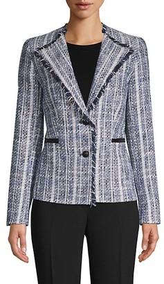 Karl Lagerfeld Paris Frayed Tweed Blazer
