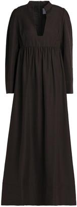 Valentino Gathered Silk-shantung Maxi Dress