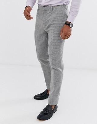 ASOS DESIGN wedding super skinny suit pants in gray micro houndstooth