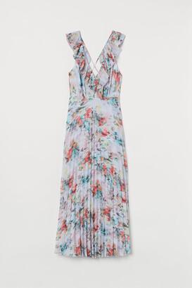 H&M Pleated Chiffon Dress - White
