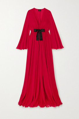 Giambattista Valli Bow-detailed Ruched Silk-georgette Maxi Dress - Red