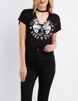 Charlotte Russe Choker Neck Graphic Cropped Tee