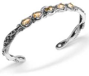 Carolyn Pollack Yellow-Orange Citrine (1-3/4 ct. t.w.) Five Stone Cuff Bracelet in Sterling Silver