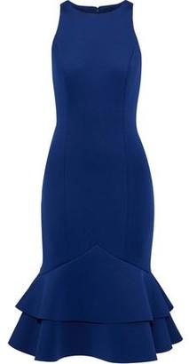 Badgley Mischka Fluted Ruffled Neoprene Dress