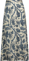 Zimmermann Adorn Printed Satin Midi Skirt