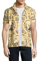 Burberry Castle Wallpaper-Print Short-Sleeve Pajama Shirt, Yellow