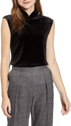 Anne Klein Mandarin Collar Sleeveless Velvet Top