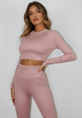 Missguided Pink Co Ord Msgd Rib Knit Top