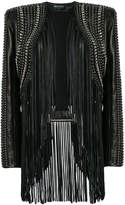 Balmain cropped fringe leather jacket