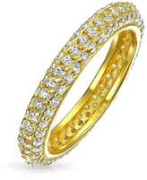 Bling Jewelry Gold Plated 925 Silver Stackable Wedding Ring Pave Cz.