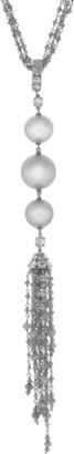 Arunashi Silver South Sea Pearl Tassel Necklace