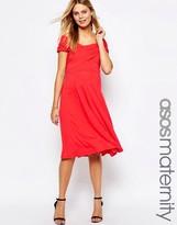Asos Skater Midi Dress with Bardot Neckline