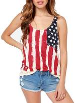 Dovia Women's Patriotic American Flag Print Lace Camisole Tank Top T-Shirt