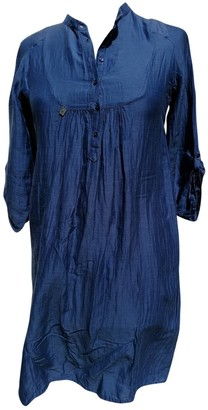 One Step Blue Silk Dress for Women