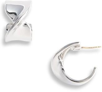 St. John Twist Metal Hoop Earrings