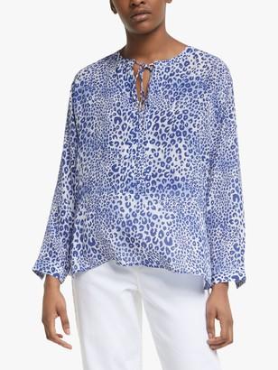 Mercy Delta Fenton Leopard Print Blouse, Blue