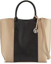 Linea Pelle Colorblock Faux-Leather Tote Bag, Dove/Black