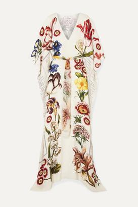 Oscar de la Renta Belted Printed Silk-chiffon Gown - Ecru